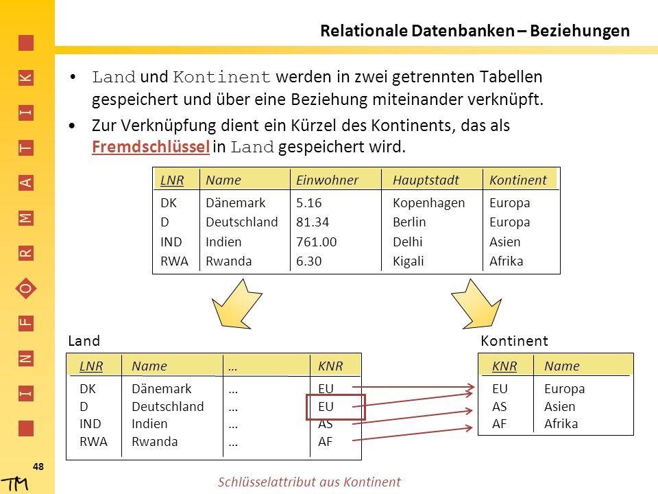 I N F O R M A T I K 48 Relationale Datenbanken – Beziehungen Land und Kontinent werden in zwei getrennten Tabellen gespeichert und über eine Beziehung