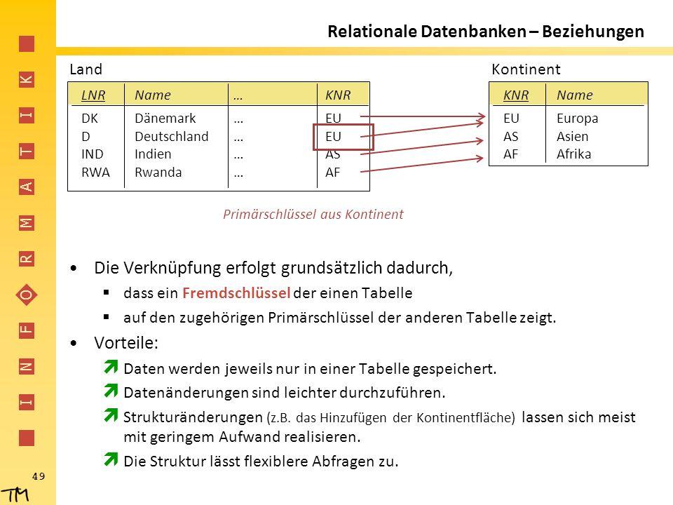 I N F O R M A T I K 49 Relationale Datenbanken – Beziehungen Die Verknüpfung erfolgt grundsätzlich dadurch,  dass ein Fremdschlüssel der einen Tabell