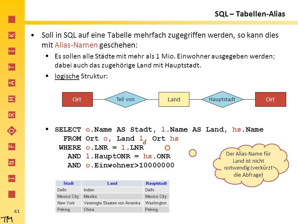 I N F O R M A T I K 61 SQL – Tabellen-Alias Soll in SQL auf eine Tabelle mehrfach zugegriffen werden, so kann dies mit Alias-Namen geschehen:  Es sol