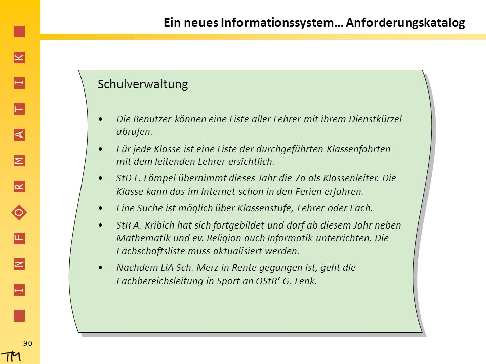 I N F O R M A T I K 90 Ein neues Informationssystem… Anforderungskatalog Schulverwaltung Die Benutzer können eine Liste aller Lehrer mit ihrem Dienstk