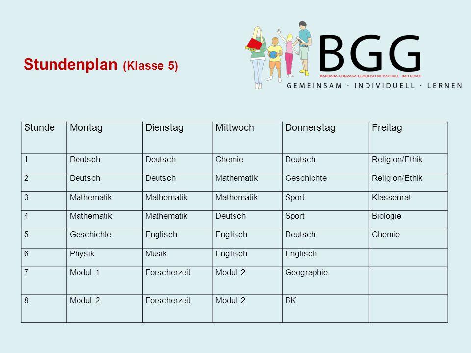 Stundenplan (Klasse 5) StundeMontagDienstagMittwochDonnerstagFreitag 1Deutsch ChemieDeutschReligion/Ethik 2Deutsch MathematikGeschichteReligion/Ethik