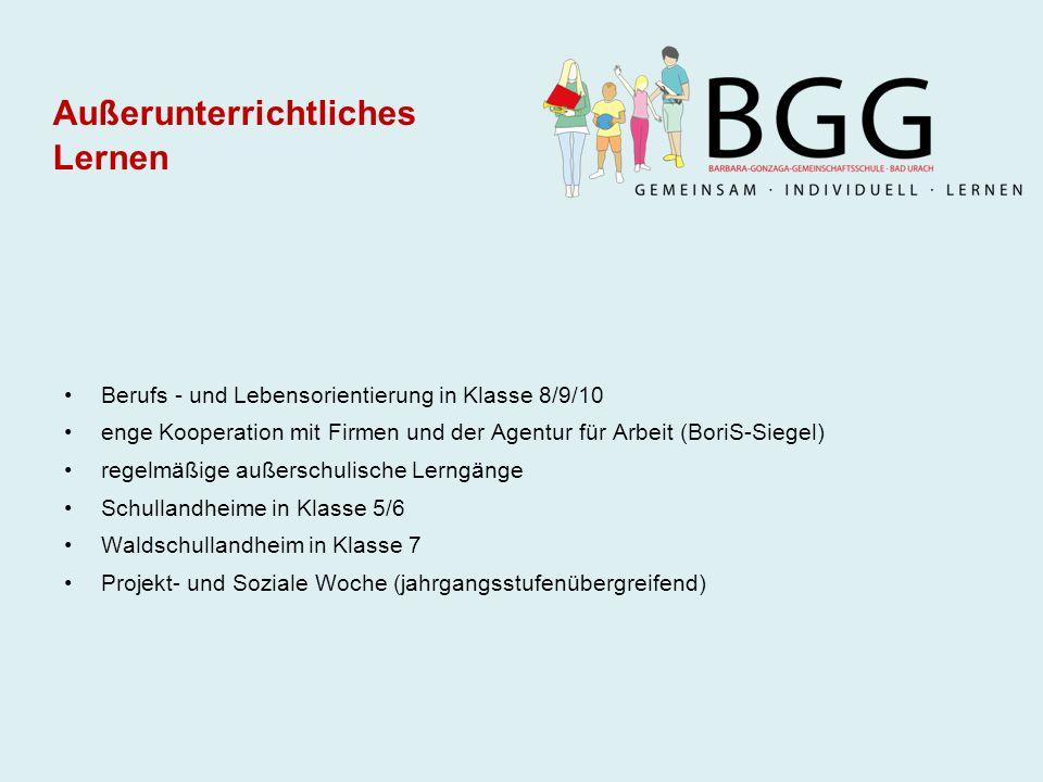 Berufs - und Lebensorientierung in Klasse 8/9/10 enge Kooperation mit Firmen und der Agentur für Arbeit (BoriS-Siegel) regelmäßige außerschulische Ler