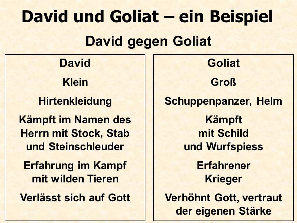 David und Goliat – ein Beispiel David gegen Goliat David Klein Hirtenkleidung Kämpft im Namen des Herrn mit Stock, Stab und Steinschleuder Erfahrung i