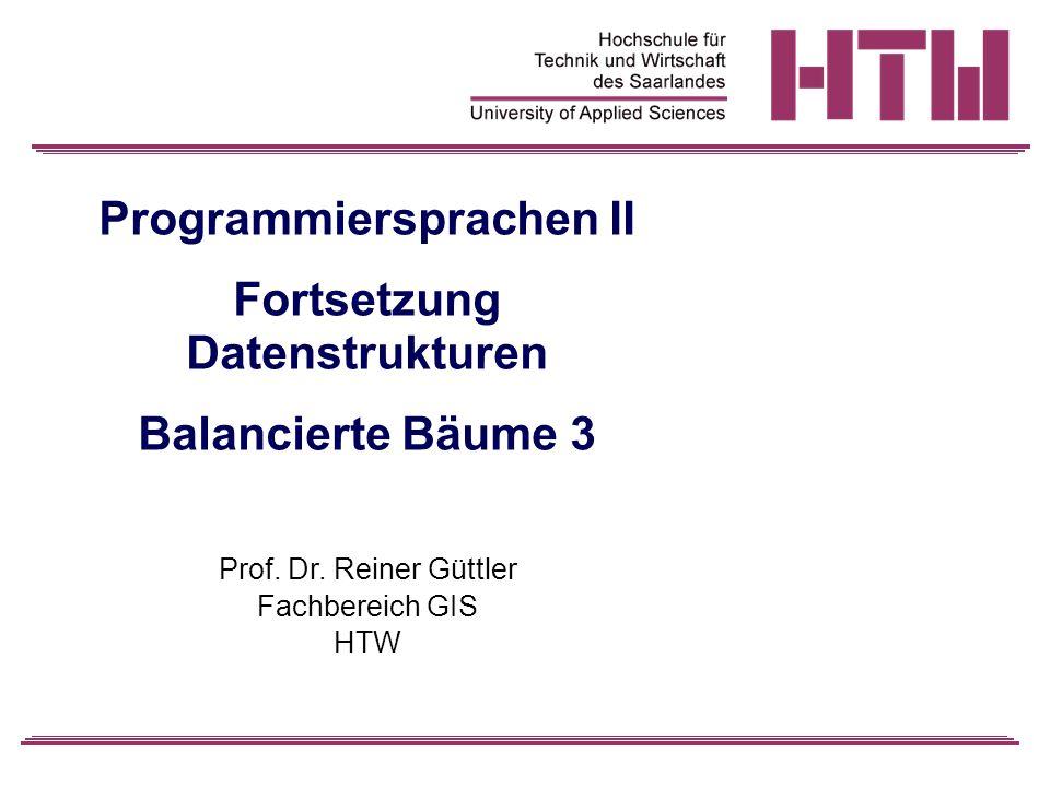 Programmiersprachen II Fortsetzung Datenstrukturen Balancierte Bäume 3 Prof.