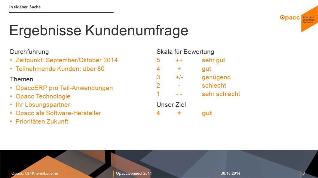 Opacc, CH-Kriens/LucerneOpaccConnect 201430.10.2014 3 In eigener Sache Ergebnisse Kundenumfrage Skala für Bewertung 5++sehr gut 4+gut 3+/-genügend 2-s