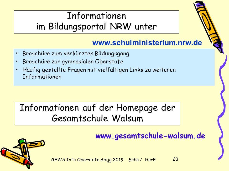 GEWA Info Oberstufe Abijg 2019 Scha / HerE 22 Zulassung zum Abitur – Leistungsdefizite (weniger als 5 Punkte) bei Einbringung von allen 4 Kursen der A