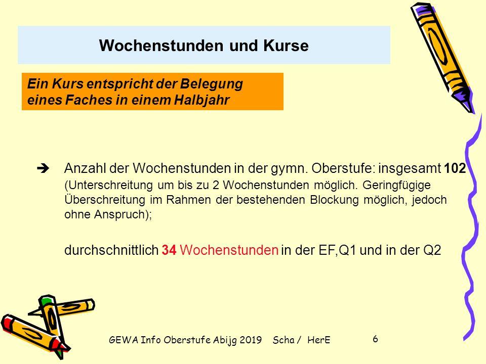 """GEWA Info Oberstufe Abijg 2019 Scha / HerE 16 Wahl der vier Abiturfächer (2 LK und 2 GK) Zwei Fächer aus dem Kanon """"Deutsch, Mathematik, Fremdsprache ."""