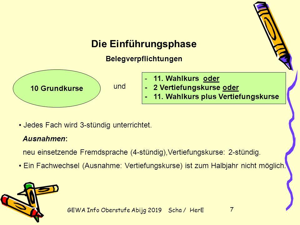 GEWA Info Oberstufe Abijg 2019 Scha / HerE 7 10 Grundkurse - 11.