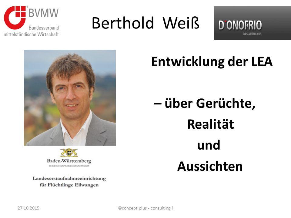 Berthold Weiß Entwicklung der LEA – über Gerüchte, Realität und Aussichten 27.10.2015©concept plus - consulting !