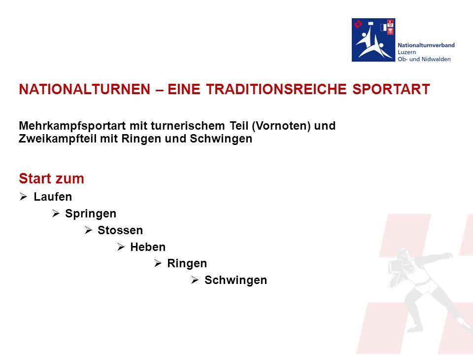 NATIONALTURNEN – EINE TRADITIONSREICHE SPORTART Mehrkampfsportart mit turnerischem Teil (Vornoten) und Zweikampfteil mit Ringen und Schwingen Start zum  Laufen  Springen  Stossen  Heben  Ringen  Schwingen