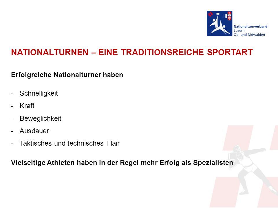 NATIONALTURNEN – EINE TRADITIONSREICHE SPORTART Erfolgreiche Nationalturner haben -Schnelligkeit -Kraft -Beweglichkeit -Ausdauer -Taktisches und technisches Flair Vielseitige Athleten haben in der Regel mehr Erfolg als Spezialisten