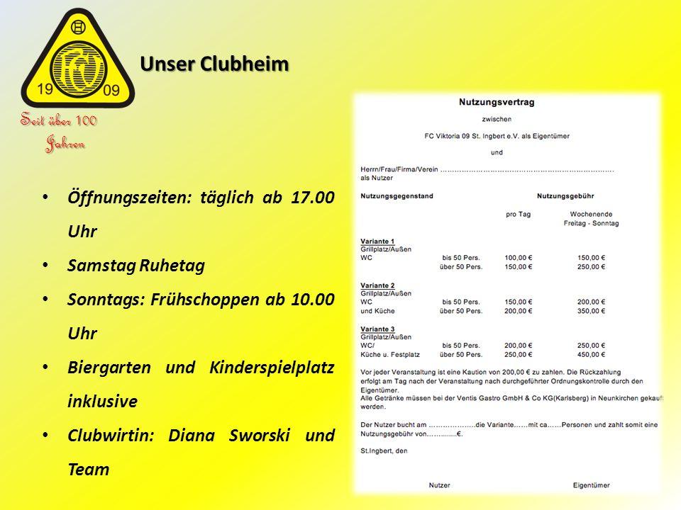 Unser Clubheim Unser Clubheim Seit über 100 Jahren Öffnungszeiten: täglich ab 17.00 Uhr Samstag Ruhetag Sonntags: Frühschoppen ab 10.00 Uhr Biergarten