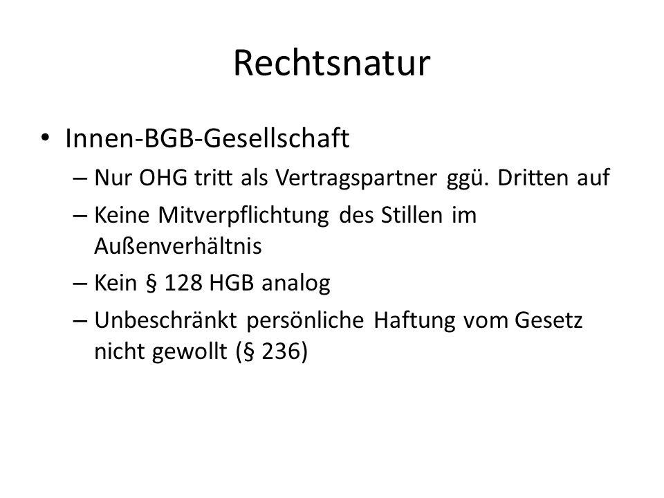 Rechtsnatur Innen-BGB-Gesellschaft – Nur OHG tritt als Vertragspartner ggü. Dritten auf – Keine Mitverpflichtung des Stillen im Außenverhältnis – Kein