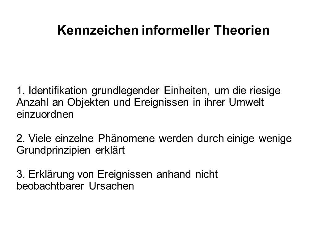 Kennzeichen informeller Theorien 1. Identifikation grundlegender Einheiten, um die riesige Anzahl an Objekten und Ereignissen in ihrer Umwelt einzuord