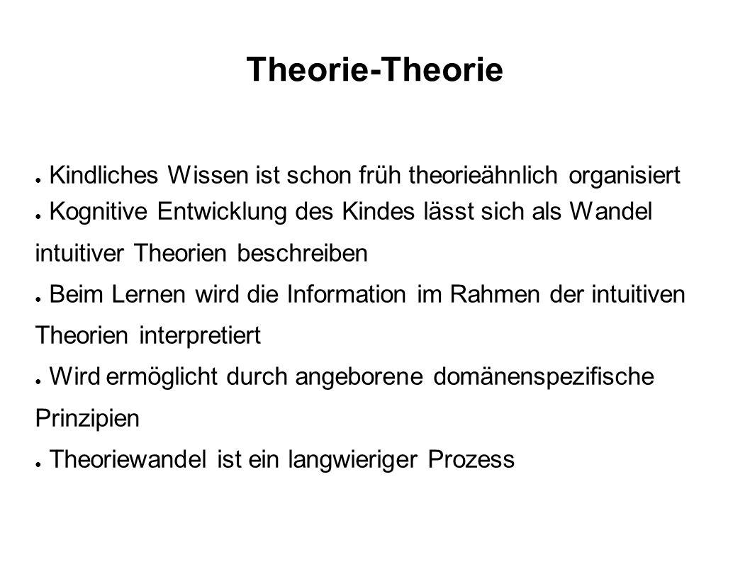Theorie-Theorie ● Kindliches Wissen ist schon früh theorieähnlich organisiert ● Kognitive Entwicklung des Kindes lässt sich als Wandel intuitiver Theo