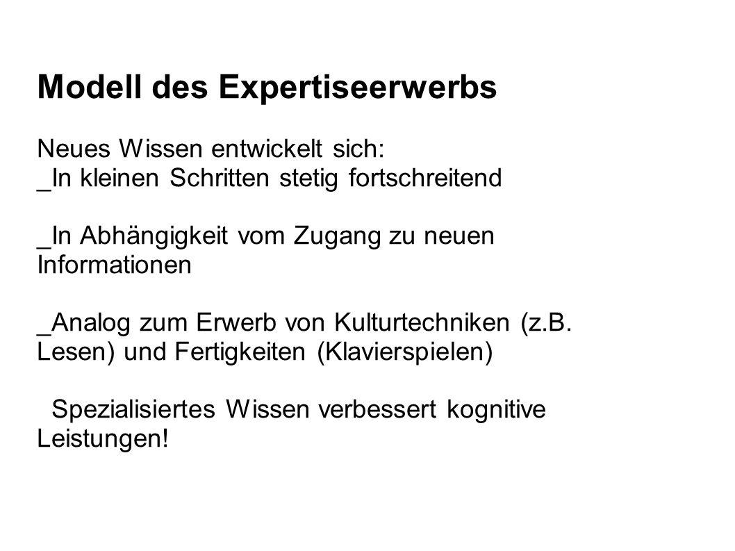 Modell des Expertiseerwerbs Neues Wissen entwickelt sich: _In kleinen Schritten stetig fortschreitend _In Abhängigkeit vom Zugang zu neuen Information