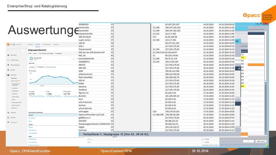 Opacc, CH-Kriens/LucerneOpaccConnect 201430.10.2014 EnterpriseShop und Katalogisierung Auswertungen