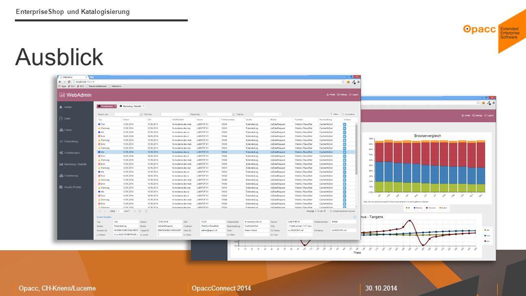 Opacc, CH-Kriens/LucerneOpaccConnect 201430.10.2014 EnterpriseShop und Katalogisierung Ausblick Medienverwaltung Newsverwaltung WebAdmin Benutzerverwaltung EnterpriseSearch