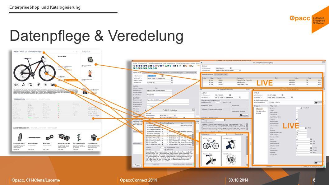 Opacc, CH-Kriens/LucerneOpaccConnect 201430.10.2014 8 EnterpriseShop und Katalogisierung Datenpflege & Veredelung LIVE