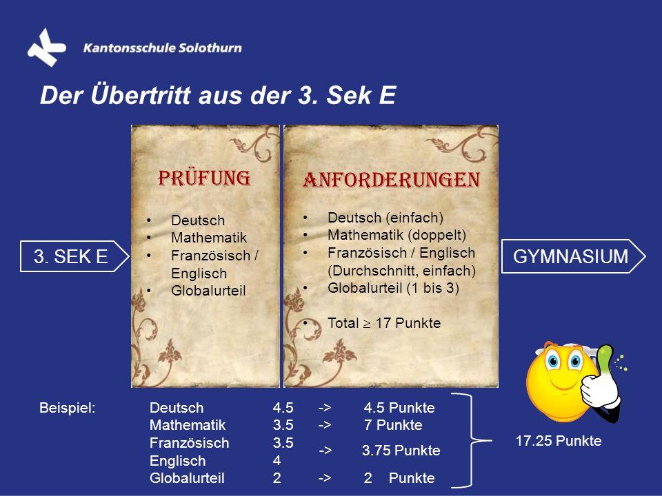 Der Übertritt aus der 3. Sek E 3. SEK E GYMNASIUM Prüfung Deutsch Mathematik Französisch / Englisch Globalurteil Anforderungen Deutsch (einfach) Mathe