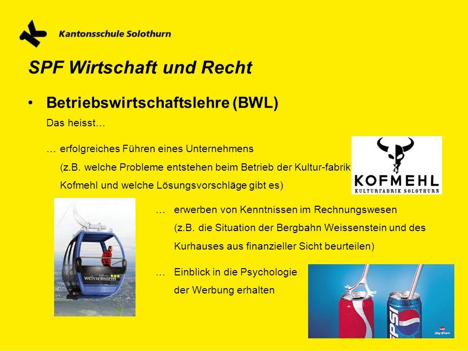 SPF Wirtschaft und Recht Betriebswirtschaftslehre (BWL) Das heisst… … erfolgreiches Führen eines Unternehmens (z.B. welche Probleme entstehen beim Bet