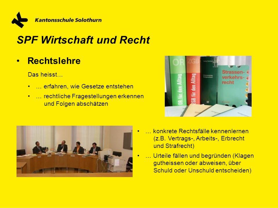 SPF Wirtschaft und Recht Rechtslehre Das heisst… … erfahren, wie Gesetze entstehen … rechtliche Fragestellungen erkennen und Folgen abschätzen … konkr