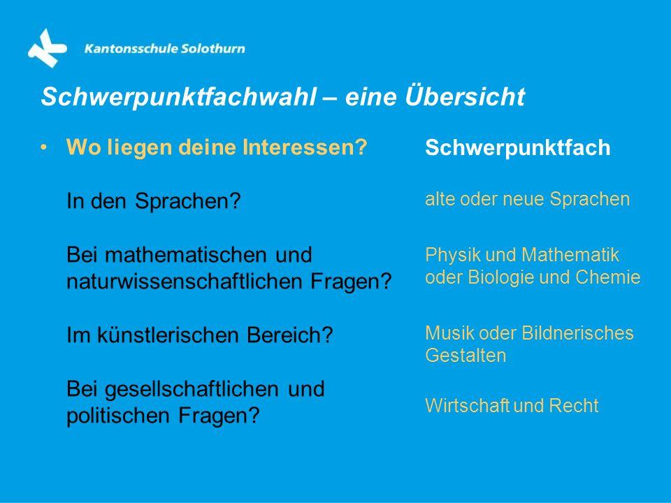 Wo liegen deine Interessen? In den Sprachen? Bei mathematischen und naturwissenschaftlichen Fragen? Im künstlerischen Bereich? Bei gesellschaftlichen
