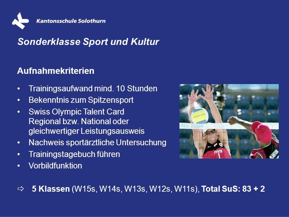 Aufnahmekriterien Trainingsaufwand mind. 10 Stunden Bekenntnis zum Spitzensport Swiss Olympic Talent Card Regional bzw. National oder gleichwertiger L