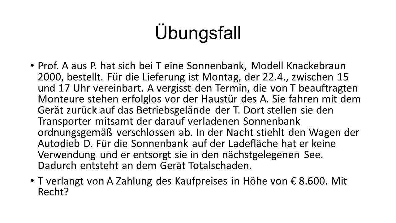 Übungsfall Prof. A aus P. hat sich bei T eine Sonnenbank, Modell Knackebraun 2000, bestellt. Für die Lieferung ist Montag, der 22.4., zwischen 15 und