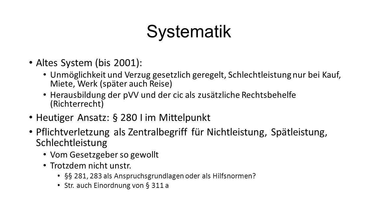 Systematik Altes System (bis 2001): Unmöglichkeit und Verzug gesetzlich geregelt, Schlechtleistung nur bei Kauf, Miete, Werk (später auch Reise) Herau
