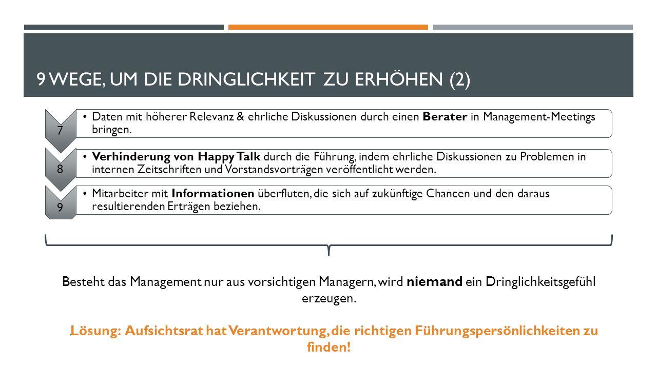 9 WEGE, UM DIE DRINGLICHKEIT ZU ERHÖHEN (2) 7 Daten mit höherer Relevanz & ehrliche Diskussionen durch einen Berater in Management-Meetings bringen. 8