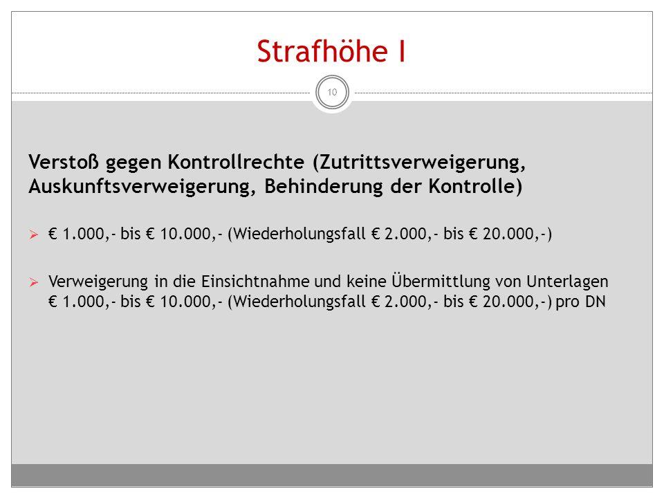 Strafhöhe I Verstoß gegen Kontrollrechte (Zutrittsverweigerung, Auskunftsverweigerung, Behinderung der Kontrolle)  € 1.000,- bis € 10.000,- (Wiederho