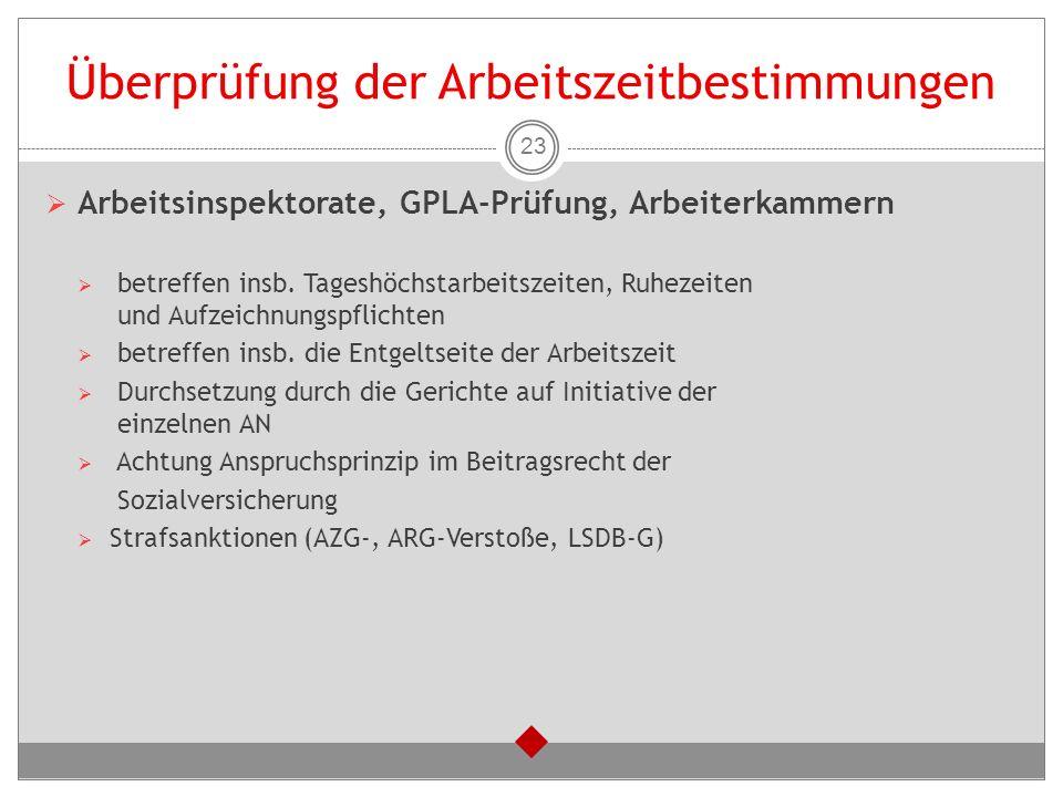 Überprüfung der Arbeitszeitbestimmungen  Arbeitsinspektorate, GPLA-Prüfung, Arbeiterkammern  betreffen insb. Tageshöchstarbeitszeiten, Ruhezeiten un