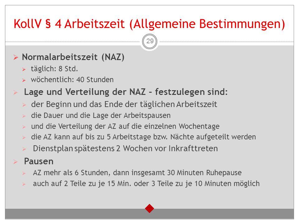 KollV § 4 Arbeitszeit (Allgemeine Bestimmungen)  Normalarbeitszeit (NAZ)  täglich: 8 Std.  wöchentlich: 40 Stunden  Lage und Verteilung der NAZ –