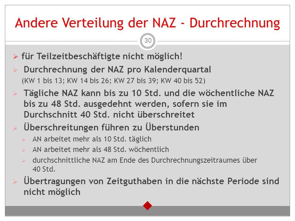 Andere Verteilung der NAZ - Durchrechnung  für Teilzeitbeschäftigte nicht möglich!  Durchrechnung der NAZ pro Kalenderquartal (KW 1 bis 13; KW 14 bi