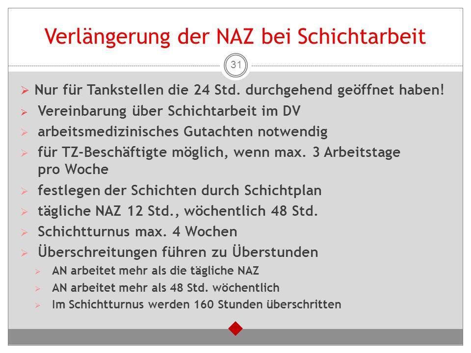 Verlängerung der NAZ bei Schichtarbeit  Nur für Tankstellen die 24 Std. durchgehend geöffnet haben!  Vereinbarung über Schichtarbeit im DV  arbeits