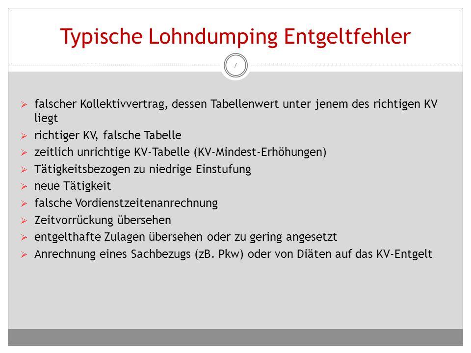 Typische Lohndumping Entgeltfehler  falscher Kollektivvertrag, dessen Tabellenwert unter jenem des richtigen KV liegt  richtiger KV, falsche Tabelle