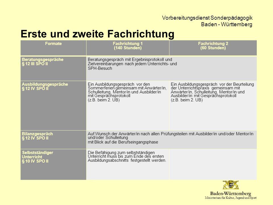 Ministerium für Kultus, Jugend und Sport Vorbereitungsdienst Sonderpädagogik Baden - Württemberg Erste und zweite Fachrichtung FormateFachrichtung 1 (
