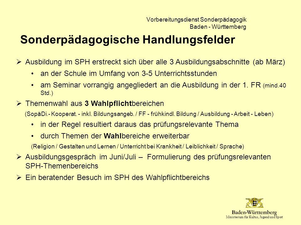 Ministerium für Kultus, Jugend und Sport Vorbereitungsdienst Sonderpädagogik Baden - Württemberg Sonderpädagogische Handlungsfelder  Ausbildung im SP