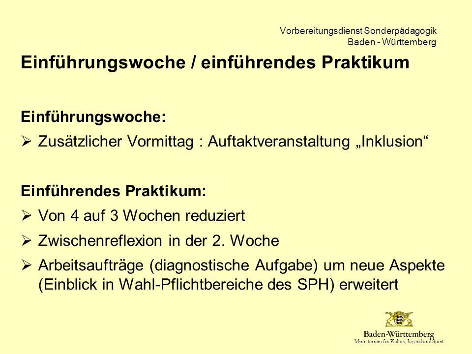 Ministerium für Kultus, Jugend und Sport Vorbereitungsdienst Sonderpädagogik Baden - Württemberg Einführungswoche / einführendes Praktikum Einführungs