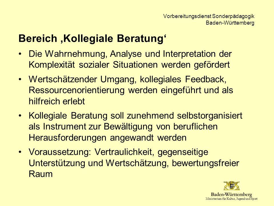 Ministerium für Kultus, Jugend und Sport Vorbereitungsdienst Sonderpädagogik Baden-Württemberg Bereich 'Kollegiale Beratung' Die Wahrnehmung, Analyse