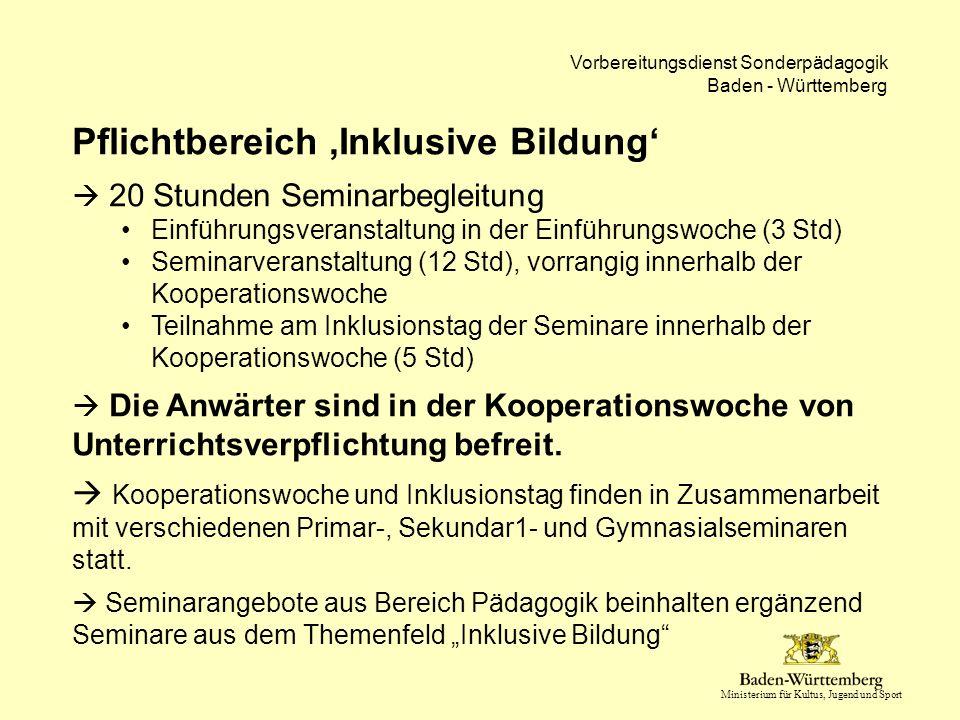Ministerium für Kultus, Jugend und Sport Vorbereitungsdienst Sonderpädagogik Baden - Württemberg Pflichtbereich 'Inklusive Bildung'  20 Stunden Semin