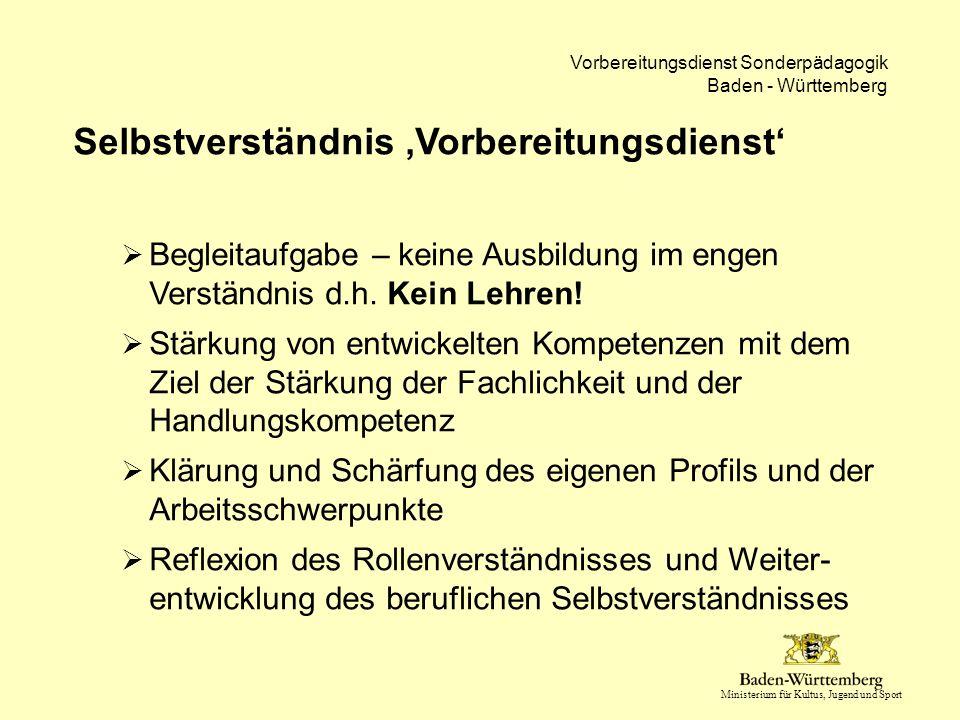Ministerium für Kultus, Jugend und Sport Vorbereitungsdienst Sonderpädagogik Baden - Württemberg Pflichtbereich 'Inklusive Bildung'  20 Stunden Seminarbegleitung Einführungsveranstaltung in der Einführungswoche (3 Std) Seminarveranstaltung (12 Std), vorrangig innerhalb der Kooperationswoche Teilnahme am Inklusionstag der Seminare innerhalb der Kooperationswoche (5 Std)  Die Anwärter sind in der Kooperationswoche von Unterrichtsverpflichtung befreit.