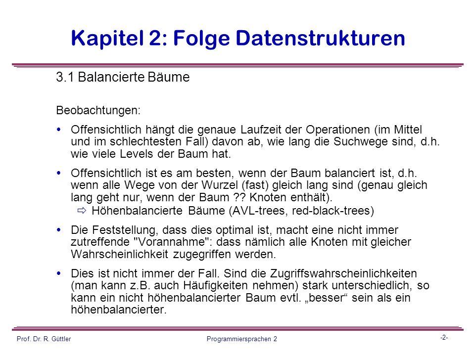 Programmiersprachen II Fortsetzung Datenstrukturen Balancierte Bäume 1 Prof.