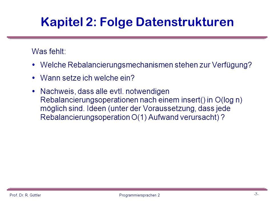 -6- Prof. Dr. R. Güttler Programmiersprachen 2 Kapitel 2: Folge Datenstrukturen 123 4 56 AVL-trees