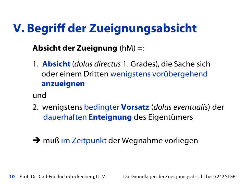 10 Prof. Dr. Carl-Friedrich Stuckenberg, LL.M. Die Grundlagen der Zueignungsabsicht bei § 242 StGB Absicht der Zueignung (hM) =: 1. Absicht (dolus dir