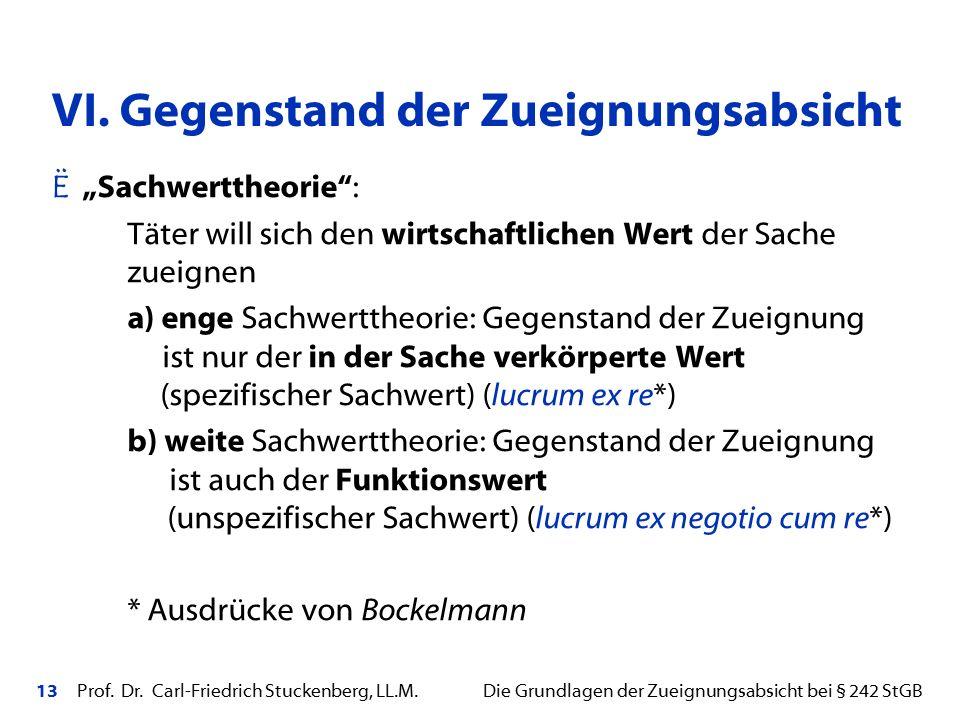 """13 Prof. Dr. Carl-Friedrich Stuckenberg, LL.M. Die Grundlagen der Zueignungsabsicht bei § 242 StGB Ë """"Sachwerttheorie"""": Täter will sich den wirtschaft"""