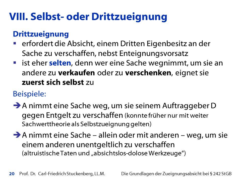 20 Prof. Dr. Carl-Friedrich Stuckenberg, LL.M. Die Grundlagen der Zueignungsabsicht bei § 242 StGB Drittzueignung  erfordert die Absicht, einem Dritt
