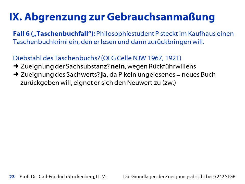 """23 Prof. Dr. Carl-Friedrich Stuckenberg, LL.M. Die Grundlagen der Zueignungsabsicht bei § 242 StGB Fall 6 (""""Taschenbuchfall""""): Philosophiestudent P st"""