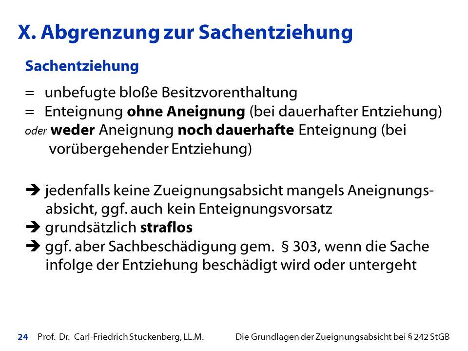 24 Prof. Dr. Carl-Friedrich Stuckenberg, LL.M. Die Grundlagen der Zueignungsabsicht bei § 242 StGB Sachentziehung = unbefugte bloße Besitzvorenthaltun